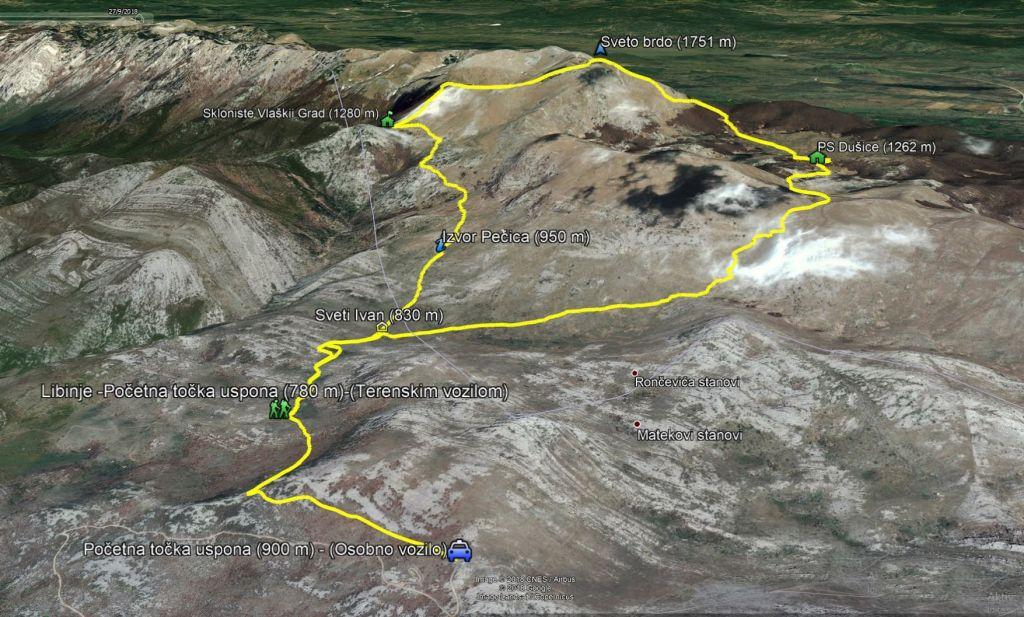 Planinarske staze - karta Velebit - Sveto Brdo
